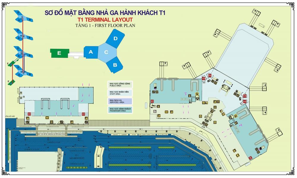Sơ đồ nhà ga Nội Bài T1-Hotel Noi Bai,Khách Sạn Gần Nội Bài